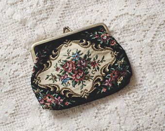 vintage floral tapestry coin purse