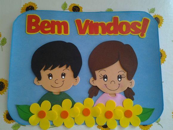 """Placa para porta de sala de aula.  O """"Bem Vindos"""" pode ser substituído por Turma (+ número da turma). R$ 20,00"""