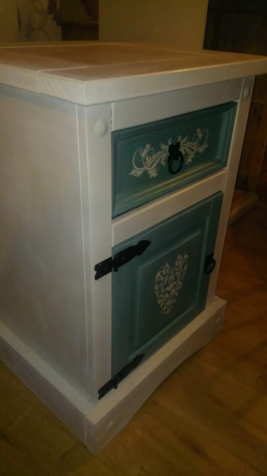 Gorgeous cabinet. Hand painted in Annie Sloane old white and province. Decorated in hand painted stencils.