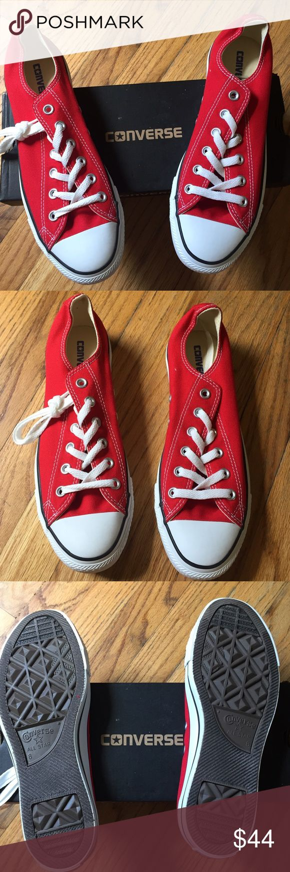 NWT Red Converse Unisex Sneakers. Size 8 M & 10 W Brand New still in box. Red Converse sneakers. Unisex. Mens 8 and Woman's 10. Converse Shoes Sneakers