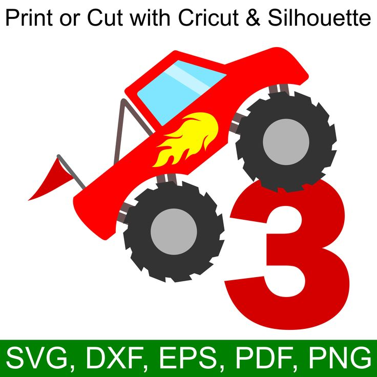 Download Monster Truck 3rd Birthday SVG File for Cricut ...