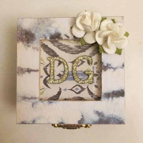 Oceans: handmade wooden jewelry/sorority pin box by PaperGemsbyLex