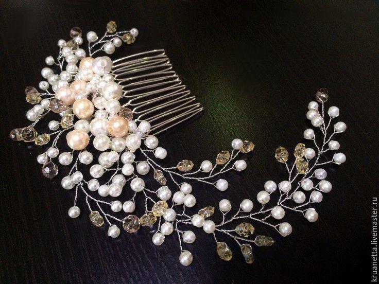 """Купить Гребень """"Айвори для невесты"""" - белый, айвори, украшение для волос, гребень для волос, невеста"""