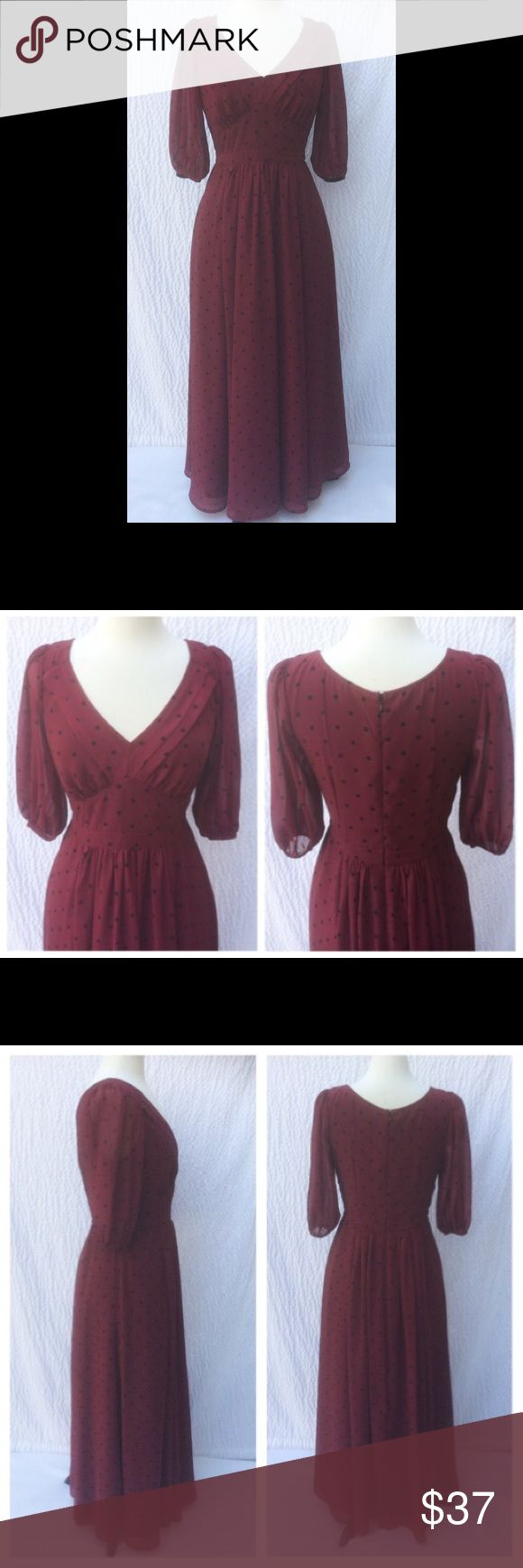 """New Eshakti Polka Dot Fit & Flare Midi Dress M 10 New Eshakti burgundy/red polka dot georgette maxi dress M 10 Measured flat: Underarm to underarm:35"""" Waist:30"""" Length:53"""" Sleeve:15"""" Eshakti chart for 10 bust:37"""" Pleated  v neck, inverted bust pleats. Banded waist w/ high empire point, side seam pockets. Side hidden zipper. Center ruched pleated flared maxi skirt. Lined in poly moss crepe. Polyester, woven chiffon georgette, semi-sheer, no stretch, machine wash New w/cut out Eshakti tag to…"""