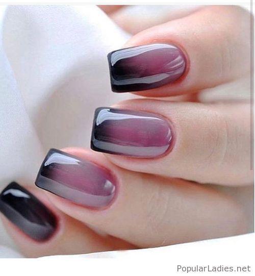 Rose to black gel nails