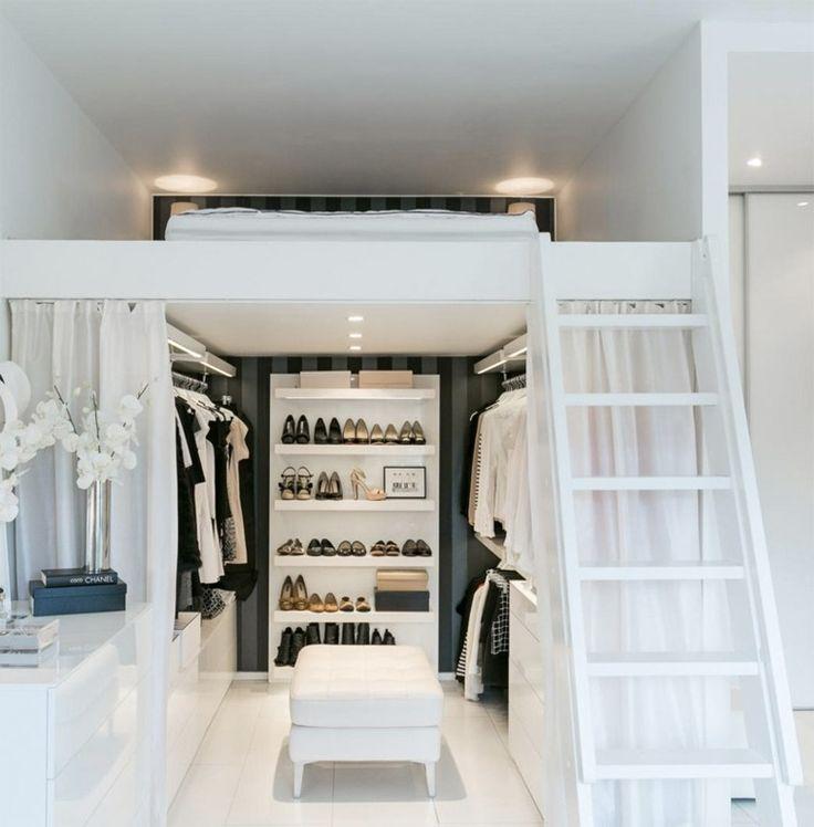 lits mezzanine loft intérieur aménagement dressing rangement chaussures