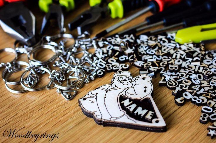 Popeye Cartoon character Keyring Personalised Handmade Wood Keyrings