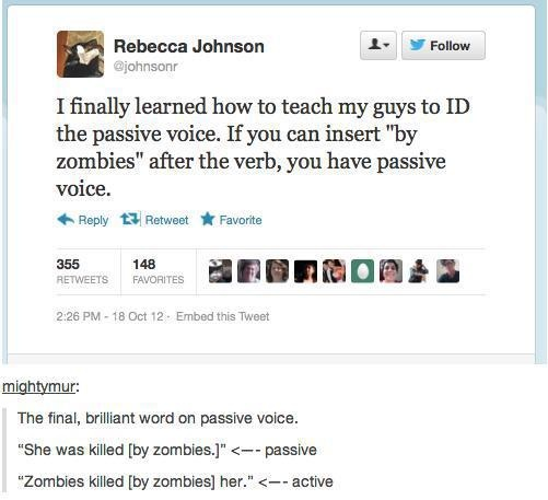the passive voice essay Usually it is better to use active voice rather than passive voice constructions, but there are times when you need to use the passive voice.