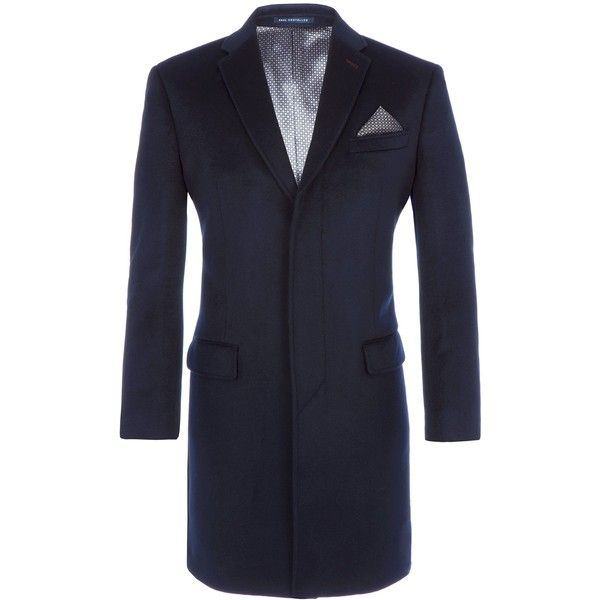 Paul Costelloe Maldon Navy Wool Overcoat ($325) ❤ liked on Polyvore featuring men's fashion, men's clothing, men's outerwear, men's coats, sale men coats and jackets, men's navy overcoat, mens navy coat, mens wool overcoat, mens fur collar coat and mens navy blue sport coat