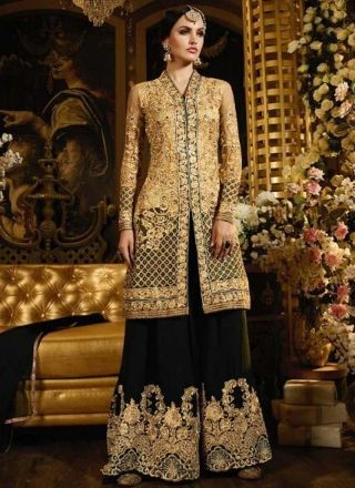 Beige Black Embroidery Work Georgette Net Pakistani Wedding Suit http://www.angelnx.com/Salwar-Kameez/Pakistani-Suits