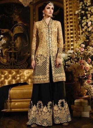 Beige Black Embroidery Work Georgette Net Pakistani Wedding Suit http://www.angelnx.com/Salwar-Kameez/Pakistani-Suits