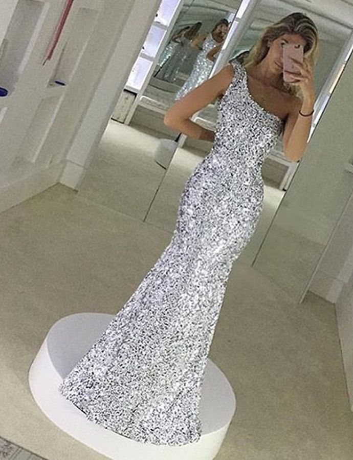 Modern Mermaid One Shoulder Sleeveless Sequined Floor-Length Prom Dress Long Sequins Prom Dress by DestinyDress, $217.31 USD