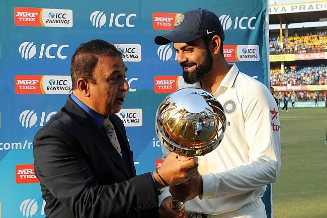Sunil Gavaskar presents the Test Championship Mace to Virat Kohli