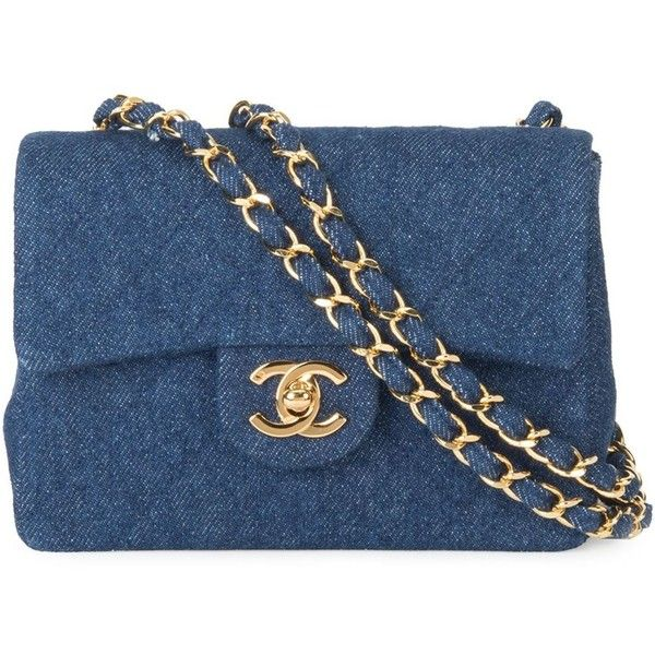Chanel Vintage Denim Quilted Shoulder Bag (514,240 INR) ❤ liked on Polyvore featuring bags, handbags, shoulder bags, bolsas de lado, chanel, blue, hand bags, vintage shoulder bag, chanel handbags and handbags purses