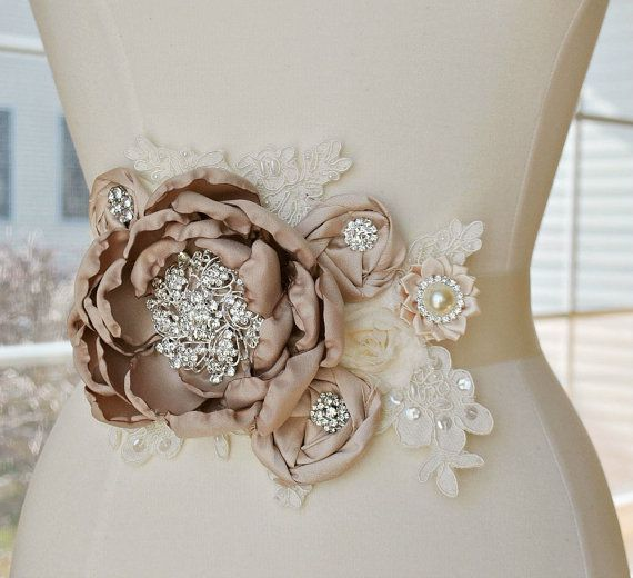 Vintage Lace Ivory Bridal Sash with Taupe and Blush Accents