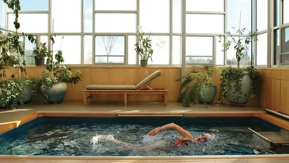 Endless Pool.  A machine that provides resistance in the water, allowing you to continuously swim, great workout.  Great innovation.