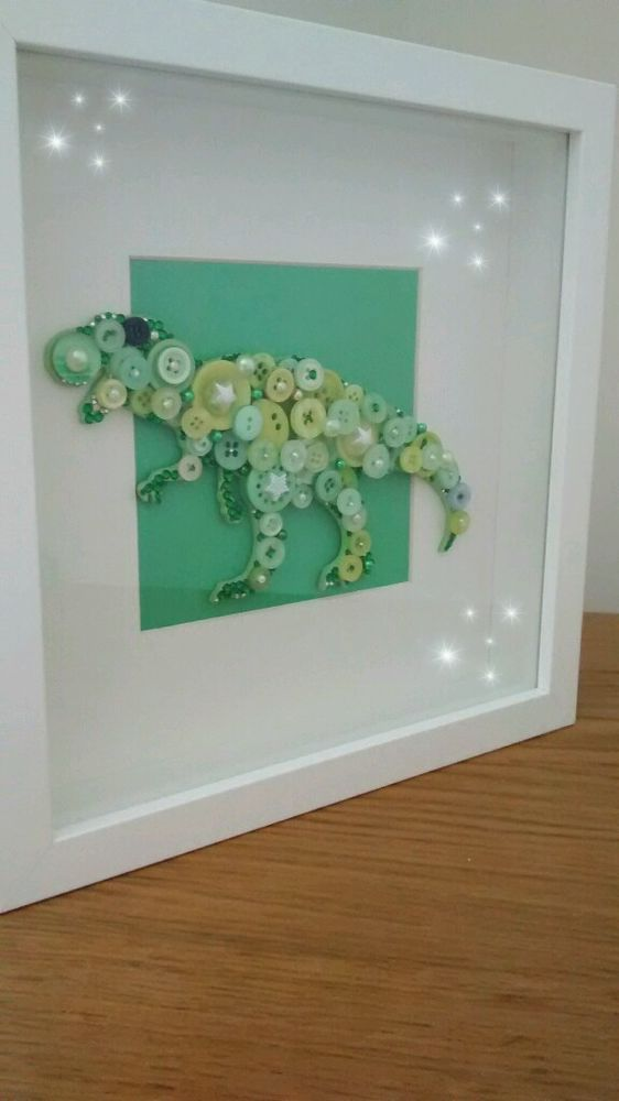 Embellished t-rex dinosaur button art picture in box frame & 25+ unique Box frames ideas on Pinterest | Baby box frame ideas ... Aboutintivar.Com