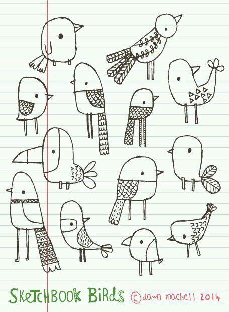 Sweet bird doodles in notebook