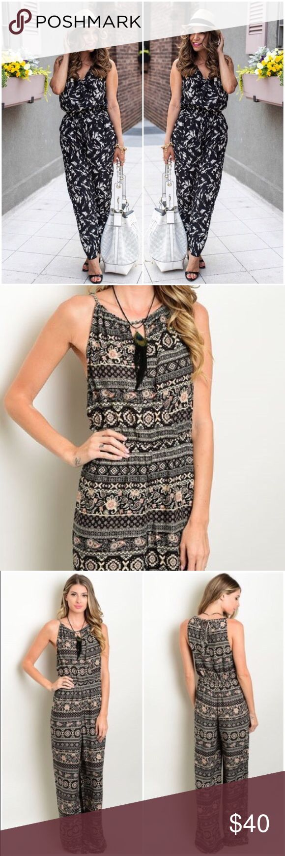 """NWTS Cream/Black Tribal Aztec Jumpsuit  SZ S This perfectly casual jumpsuit in a fun tribal print has my favorite halter neckline, & a small slit down center of front opening. There's a tie closure in back for perfect waist adjustment and loose legs. L frm small of back to hem approx 56"""" (EZ one-fold hem), & 100% Rayon. First photo/accessories is for styling inspiration. Add a moto jkt, blazer or shawl for balmy evenings. Look fab in 5 minutes!! LAST ONE!! Please Enjoy💚💗 MSRP $150. Denim…"""