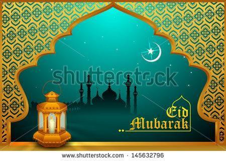 Vector illustration of glowing lamp on Eid Mubarak  Blessing for Eid background - Shutterstock