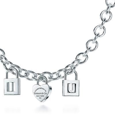Tiffany & Co Outlet Exquisite I Love U Lock Charm Necklace