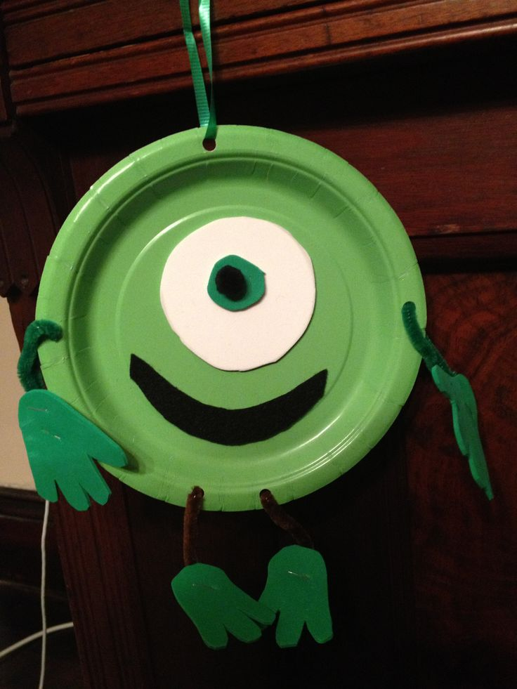 Monsters Inc Or University Easy Kid Craft Project Mike Wazowski Paper Plate Party Activity