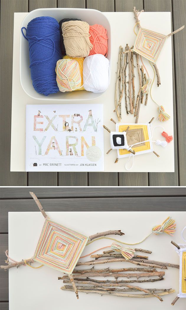 """God's Eye Stick Weaving project inspired by the book """"Extra Yarn"""""""