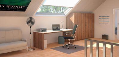 Büro-Ecke und Home Office mit Dachschrägen-Schrank. Jeden Platz gut ausnutzen!