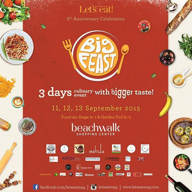 #bigfeastbali  Expect three fabulous days filled with fun food and festivities at Garden Area level 2 and Fountain Stage level 1 in Beachwalk Shopping Center Kuta Bali.  Food bazaar by Camilla Mozarella Teatro Gastroteque Sadara Boutique Resort Bakso Garasi Nebula The Butcher Huu Bali Four Points by Sheraton Le Meridien Daydreamers Mercure Legian Aston Kuta and enjoy the daily free flow session by Plaga during the event!  Enjoy the exciting cooking demo showcasing the tastemaker in Bali..and…