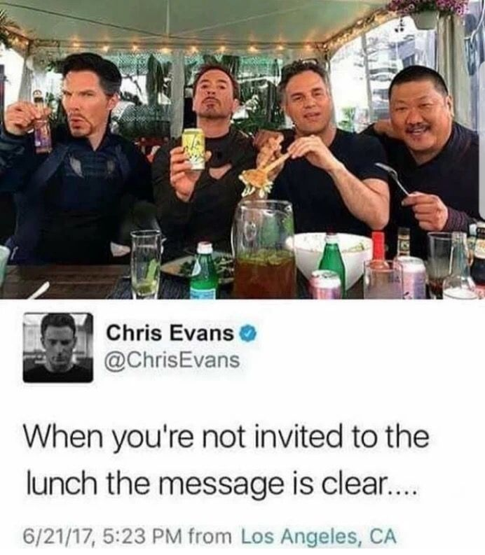 Tweet by Chris Evans of Benedict Cummerbatch and Robert Downey Jr. and some others at lunch, and didn't invite Chris.
