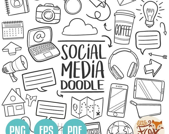 Gadgets Doodle Vector Icons Computer Technology Tools Etsy Line Art Design Doodles How To Draw Hands