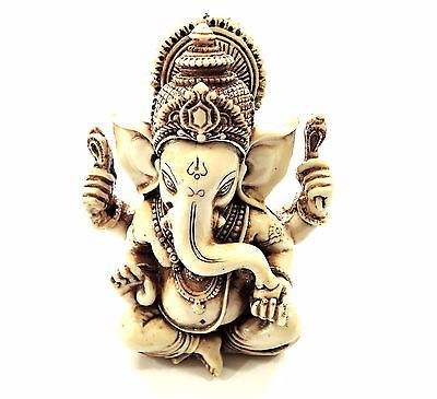 "YAPREE HANDMADE RESIN CARVED HINDU BUDDHIST GOOD LUCK GANESH STATUE: 6"" X 4.5"""