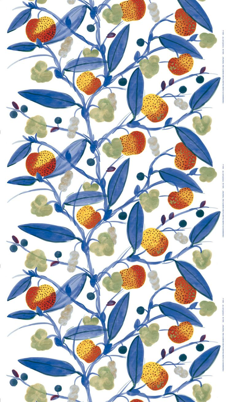 Paratiisi cotton sateen // marimekko #blue #orange #fabric