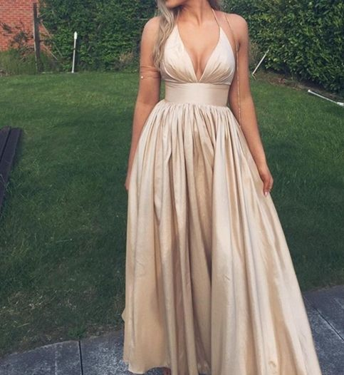 Charming Prom Dress,Satin Prom Dress,Halter Prom Dress,A-Line Prom Dress P668