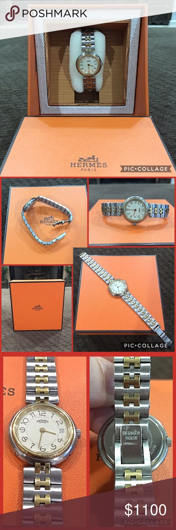 Authentic HERMES Silver/Gold H Chain Link Watch This is a gorgeous AUTHENTIC Hermes Stainless Steel Silver/Gold tone H chainlink watch in excellent working condition. Some scratching throughout. Has a deployment clasp, and is water resistant. Comes with Hermes watch box. This purchase also comes with free POSH concierge service which guarantees the authenticity and item condition. Hermes Accessories Watches