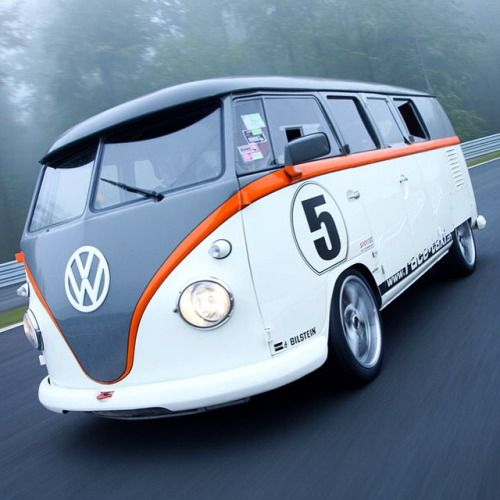 """megadeluxe: """" From Cool Material: """"For all the love the VW bus gets, little to none of it is earned from its killer performance. That's what makes the FB1 Race-Taxi so wild. What appears as just a freshly painted 1962 #Volkswagen T1 Bulli Van, is..."""