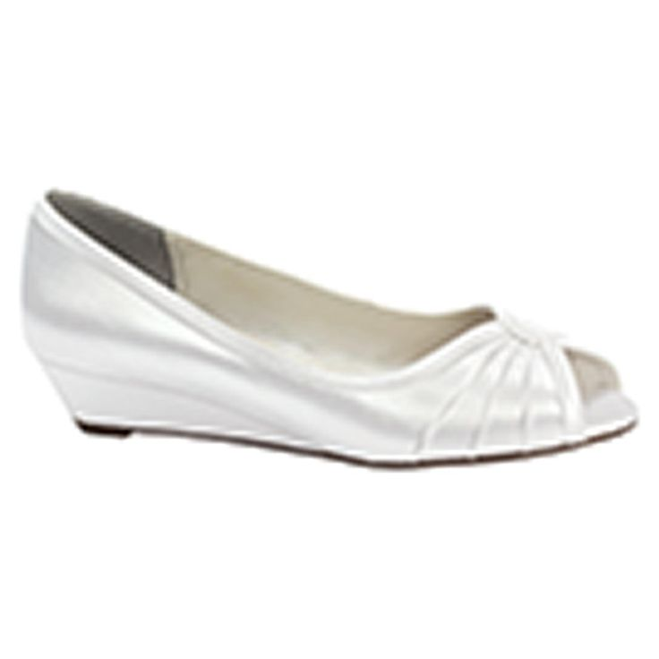 Honey white dress low wedge bridal shoes wedding pinterest for Heels for wedding dress