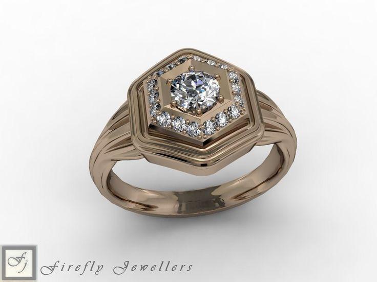 Diamond engagement ring made of rose gold. (Source: www.fireflyjewel.co.za)