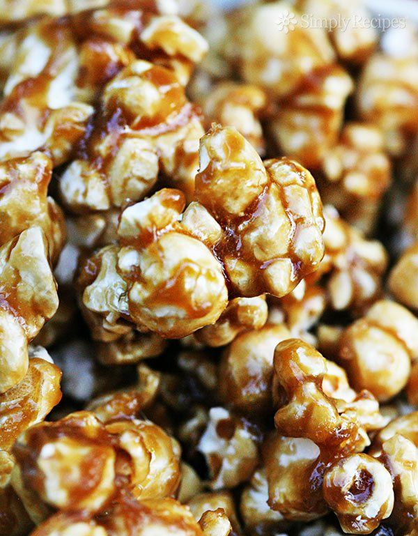 Caramel Corn ~ Classic caramel corn recipe, with freshly popped popcorn and caramel sauce made with brown sugar, butter, molasses, and corn syrup.  Photos, step-by-step instructions. ~ SimplyRecipes.com