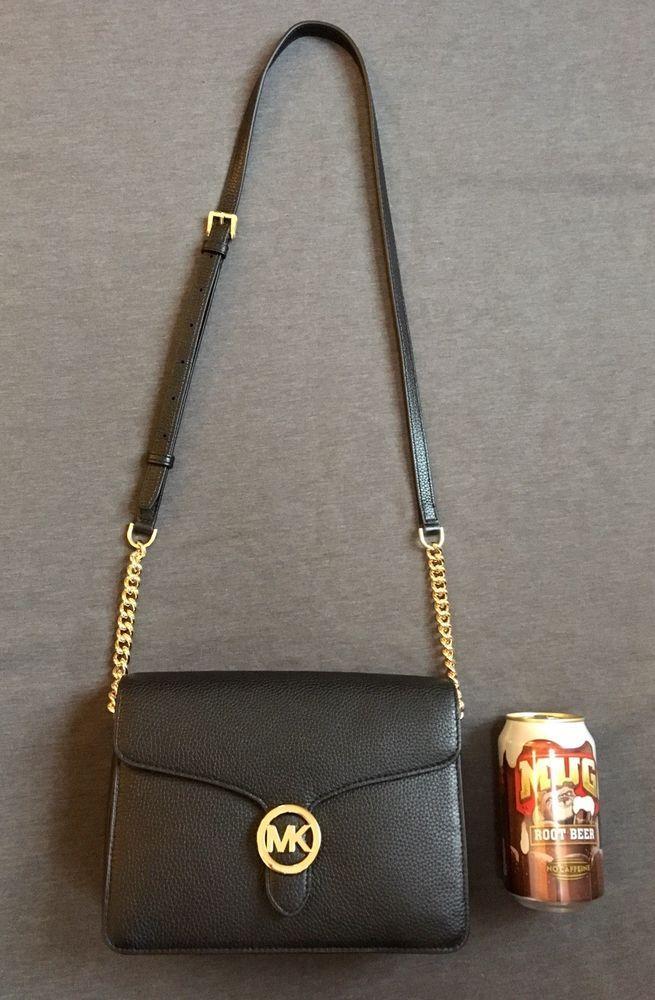 a7f5ca983e8b NWT Michael Kors VANNA Md Shoulder Flap Crossbody Bag Black Pebbled Leather  $248 #fashion #clothing #shoes #accessories #womensbagshandbags ...