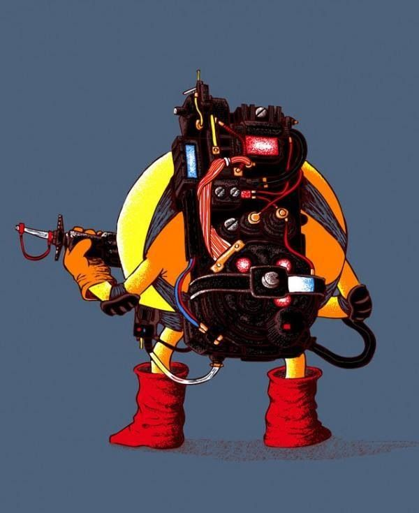 Pac-Man wearing a proton pack