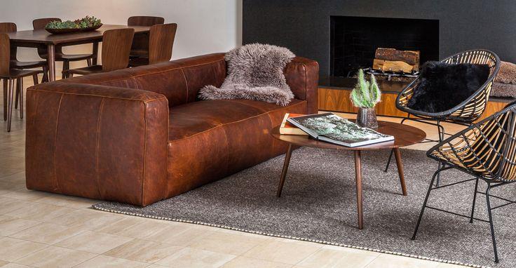 Cigar Rawhide Brown Sofa Brown Blue Living Room Brown