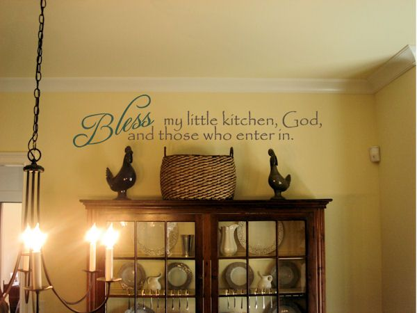 This popular quote for inviting God's blessing into the simultaneous comfort & chaos of a bustling kitchen is only $34.99 at www.beautifulwalldecals.com