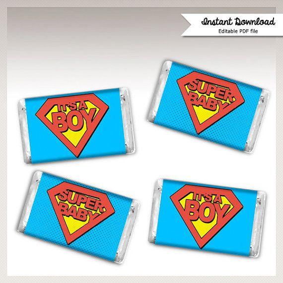 INSTANT DOWNLOAD   Cute SUPERHERO Baby Shower   Hersheyu0027s Mini 1.5x3 Candy  Bar Labels Favors   Superman Shield   Super Baby  Itu0027s A Boy