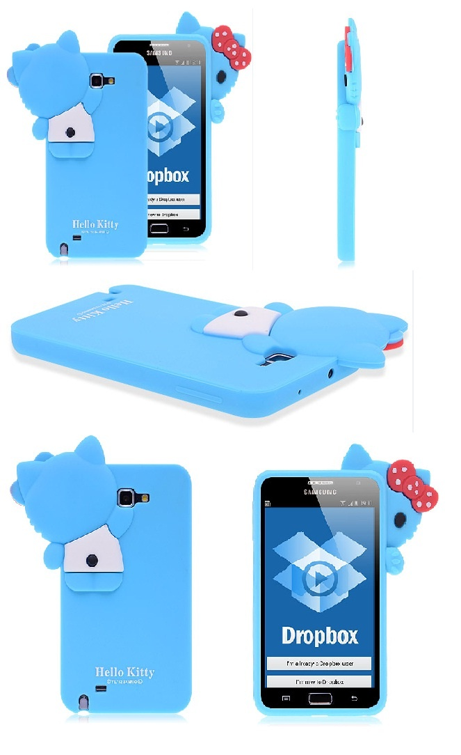 Blue Silicone Case Hello Kitty Design for Galaxy Note $5.53
