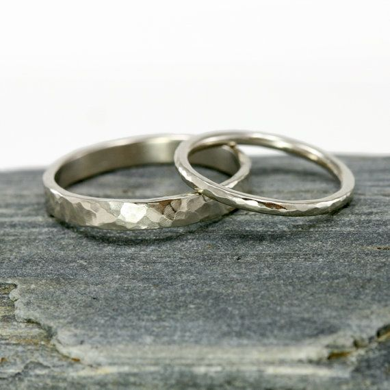 Gold Wedding Rings - 14k White Gold Hammered Wedding Band Set, 3mm Mens Ring and 1.6mm 14k White Gold Womens Ring, His and Hers Rings on Etsy, $659.00