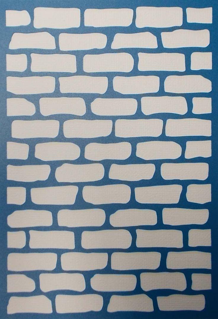 Plain wood table with hipster brick wall background stock photo - Brick Wall Background Stencil By Kraftkutz On Etsy
