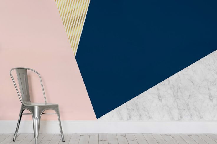 Rose Gold and Marble Geometric Wall Mural