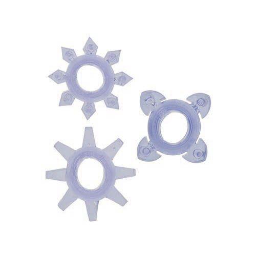 Trei inele pentru penis fine, flexibile cu reliefuri. Se potrivesc oricarei marimi.