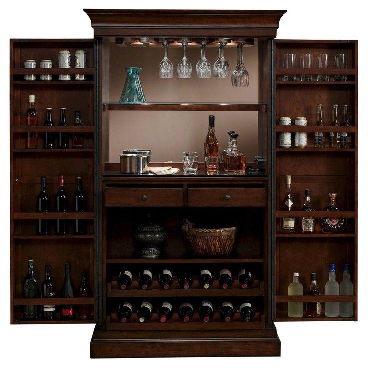 Angelina Wine Cabinet Wood/Chestnut (Brown) - American Heritage